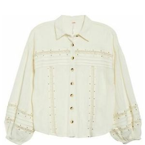 Free People ivory button front blouse size Large